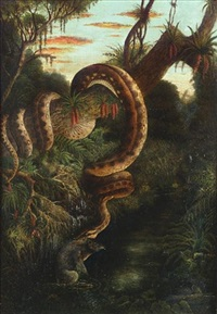 a snake attacking a tapir, south america by alexander von humboldt