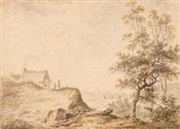 paysage animé avec une chaumière by jean-denis lempereur