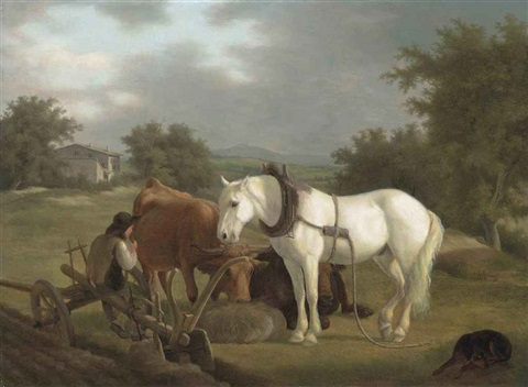 a rural landscape with a plowman resting with his gray horse cattle and dog by jacques laurent agasse