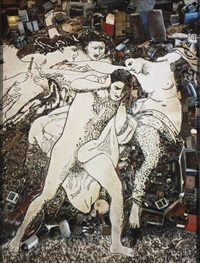 orestes pursued by the furies, after bouguereau (from the series pictures of junk) by vik muniz