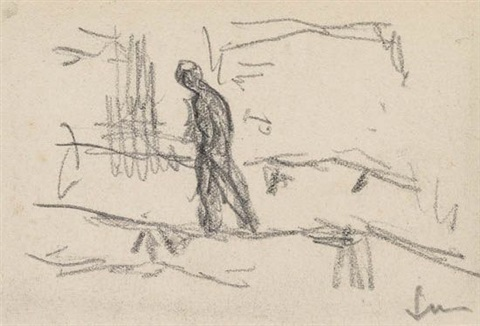 group of 4 studies of men working (4 works) by maximilien luce