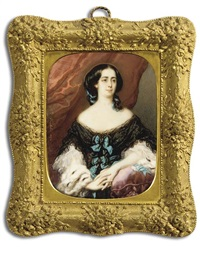 countess pernety with her clasped hands, her left arm leaning on a red tasselled cushion, in black lace dress with white lace sleeves, turquoise silk bows fastened to her bodice, ermine stole by jeanne mathilde herbelin