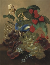 fruits and flowers on a ledge by jan van der waarden