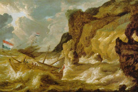 a man o war foundering in a storm off a rocky coastline by bonaventura peeters the younger