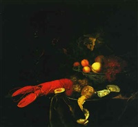 a still life with a wine glass, insects, a lobster, lemon, oysters and grapes on a pewter plate, and various fruits by johannes borman
