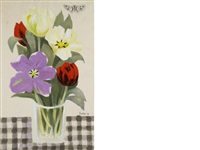 still life of flowers with butterfly by mary fedden