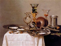a roemer on a gilt stand, a stoneware flagon and other objects on a partially draped ledge by gerrit willemsz heda