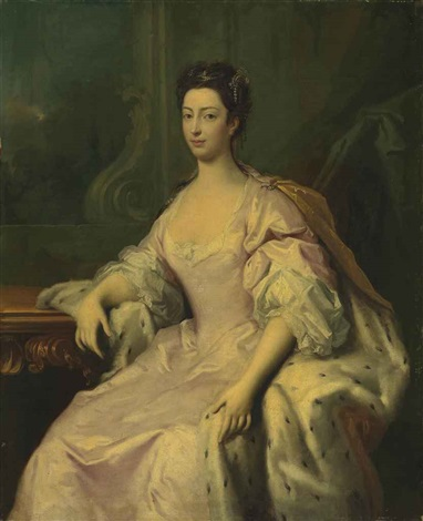 portrait of princess caroline elizabeth 1713 1757 daughter of king george ii three quarter length in a pink dress and ermine lined cloak by jacopo amigoni
