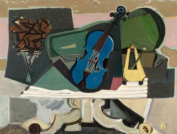 stilleben mit blauer violine by joachim heuer