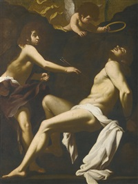 saint sebastian succoured by the angels by cavaliere giovanni baglione