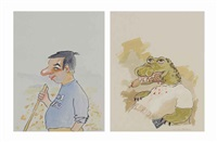 #1 dad and florida alligator (2 works) by sean landers