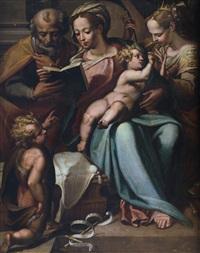 sacra famiglia con matrimonio mistico di santa caterina by orazio samacchini