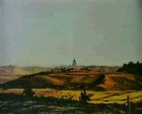 landschaft vor rom mit blick auf die kuppel von st.peter by ludwig franz karl bohnstedt