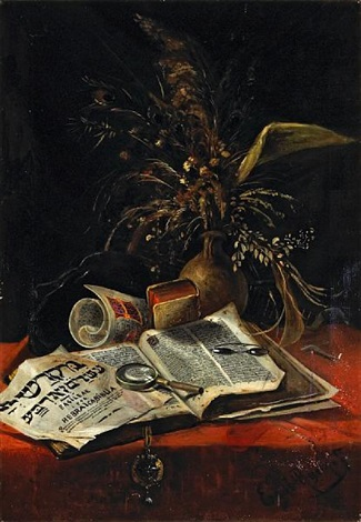 A Still Life With Tanakh And Floral Arrangement By French School 19