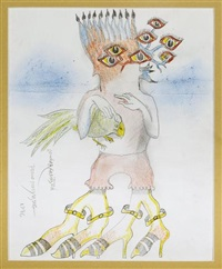cadáver exquisito, monstruo de siete ojos, un papagayo y cuatro zapatos by pedro friedeberg and leonora carrington