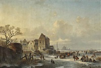 ice skaters near a dutch lakeside village by louis smets