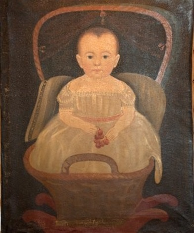 blue eye baby in a rocking basket holding cherries and wearing a white dress with a pink sash by american school prior hamblen 19
