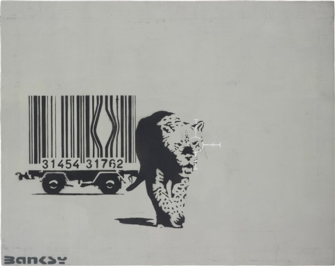 barcode leopard by banksy