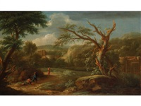 figures in an italianate landscape with ruins by gaspard dughet
