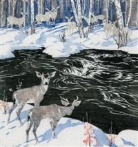 deer, kananaskis by barbara (barleigh) leighton