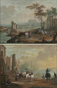 jachttaferelen (pair) by louis nicolas van blarenberghe