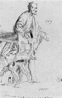 a bearded man rising from a chair by benedetto caliari