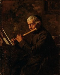 monk playing a traverso by anthony jacobus offermans