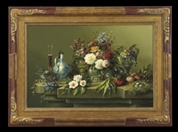 exuberant still life with fruit, flowers, egg nest and antique vessels by thomas f. heesakkers