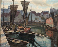 boats in a port by georg hesse