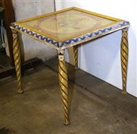 table carrée de salon décoré d'une broderie aux personnages by edgard tytgat