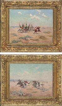 an arab cavalry charge (+ ready for the battle; pair) by f mericskay