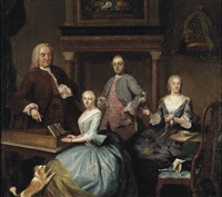 portrait of a family, in an interior by jan maurits quinkhardt