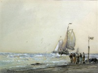 sailing ships and fishing boats on beach (+ 2 others, smllr; 3 works) by william knox