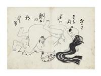 shunga print (black-only) by okumura masanobu
