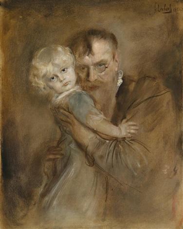 selbstportrait mit tochter marion by franz seraph von lenbach