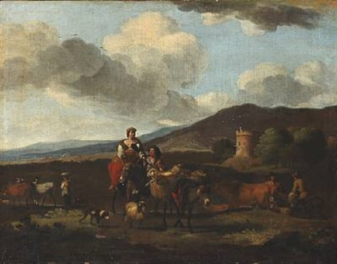 italian landscape in the foreground a peasant woman riding a donkey in the background a tower by karel dujardin