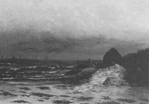 figures by a rocky coast by joseph alexander adams