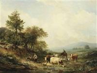 watering cattle in a sunlit landscape by hendrik van de sande bakhuyzen