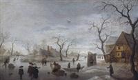 holländische winterlandschaft mit schlittschuhläufern by anthonie van stralen
