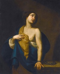 a female saint chained to a pillar by francesco de rosa