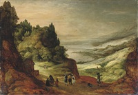 an extensive mountainous river landscape with figures conversing on a track by joos de momper the elder
