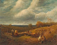 an extensive landscape with woodcutters and a flock of sheep in the foreground by james thomas linnell