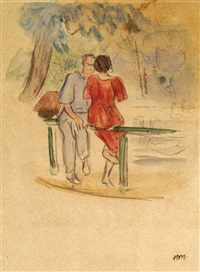 a couple on the bench in the park by nikolai andreevich tyrsa