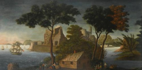landscape with ship leaving the harbor by michele felice cornè
