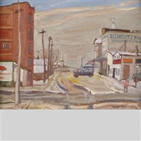 ottawa street scene with zelikovitz brothers wholesale fruits, february by ralph wallace burton