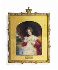 queen adelaide (1792-1849), in ermine-lined red velvet cloak, white dress, stitching a piece of lace held in her left hand by william john (sir) newton