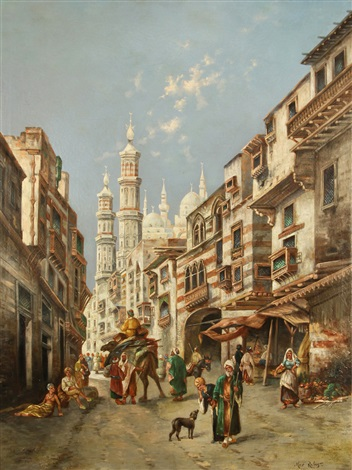 a busy street in cairo by max friedrich rabes