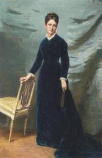 jeune femme à la robe bleue by auguste de (breley) labrely