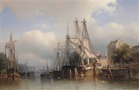 rotterdam with a view of the leuvehaven with the steigerse kerk in the distance by frans arnold breuhaus de groot