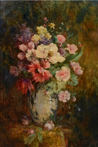 nature morte au vase fleuri by gustave halbart
